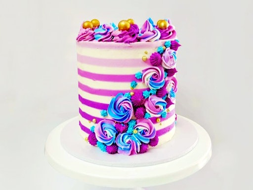Striped Buttercream Cake (Malaga WA)