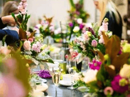 French champagne, sweets and savouries, and beautiful flowers on the day