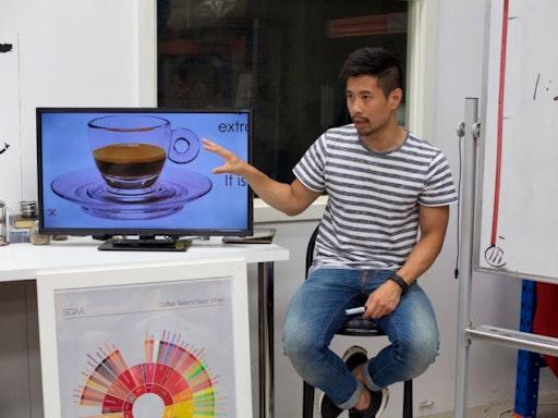 David Seng of The Espresso School holding a lecture on Espresso Basics