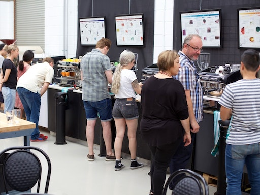 Students during the hands-on segment of the Espresso Basics class