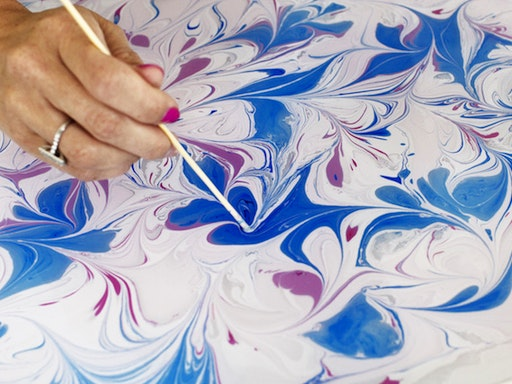 Make Your Own Marbled Paper + Notebook at The Rizzeria (Photo Via Oh So Beautiful Paper)