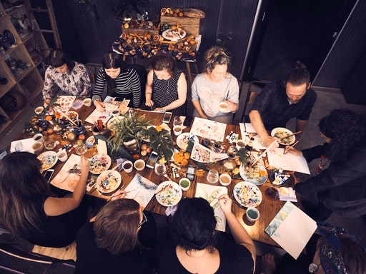 Comfortable chatter, beautiful food and wine and intense concentration on the craft at hand makes a typical Put Your Heart Into It workshop