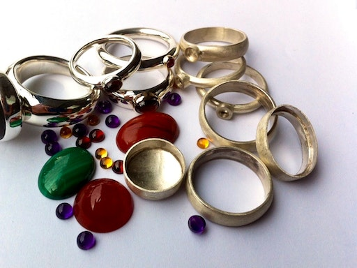 Make your own gemstone ring - or even two! at SquarePeg Studios